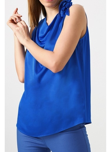 Random Kadın Kalın Askılı V Yakalı Bluz Mavi